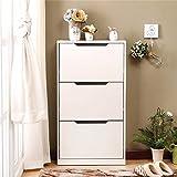 UILS Shoe Cabinet/Shoe Rack Schuhschrank, Einfache und Moderne 3 Tür Schuhschränke Schlank Home Storage Schuhregal (Farbe : Weiß)