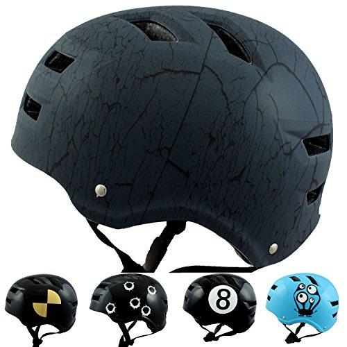 Skullcap® BMX Helm ☢ Skaterhelm ☢ Fahrradhelm ☢, Herren | Damen | Jungs & Kinderhelm, schwarz matt & leicht (Crack NextLevel, L (58 - 61 cm))