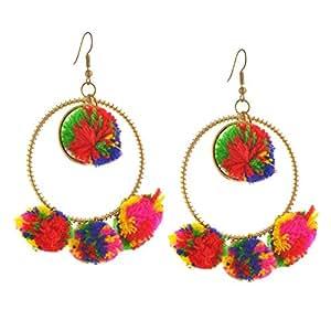 Zephyrr Multicolour Dangle and Drop Pom Pom Earrings fror Women