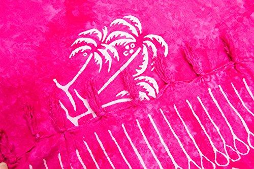 ManuMar Damen Sarong | Pareo Strandtuch | Leichtes Wickeltuch mit Fransen-Quasten Mini-Rock 55x155 cm Pink Palme