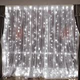 Han Lucky Star 3M x 3M 304er LED Lichterkette Drinnen Draußen LED Vorhanglichter mit 8 Steuerbare Modes für Party Weihnachten Hochzeit Festival (Weiß)