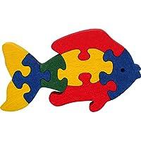 Puzzle poisson. Puzzle enfants bois 3D, 1OO% hêtre massif. Fabriqué en Europe