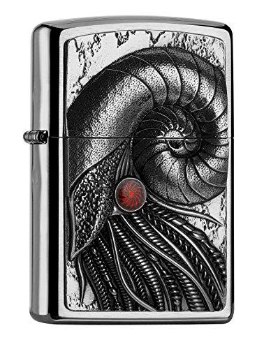 Zippo PL Cyber Nautilus Feuerzeug, Messing, Edelstahloptik, 1 x 3,5 x 5,5 cm
