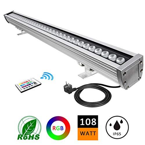 LED Foco Exterior, ATCD Luces Led de Exterior, 108W RGBW Luz de Pared de Lavado/ WallWasher,...