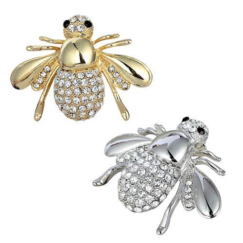 beiguoxia Frauen Entzückende Honey Bee Brosche Strass Kristall Kostüm Pin Silber Gold Tone Geschenk Innovative Prozesse - Kostüm Schmuck Reiniger