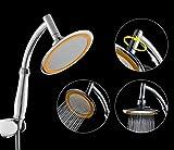 Soffione per doccia completo di maniglia, con giunto girevole a 360 gradi da 15,2 cm, con pressione a risparmio per il consumo dell'acqua, effetto centro benessere, completo di staffa (giallo)