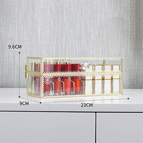 JUZEN Lippenauflagen, Crystal Transparent Lip Gloss Display Case, Lip Glaze Display Stand, Protective Cover Storage Lip Liner, 24 Spaces, 40 Spaces,24A -