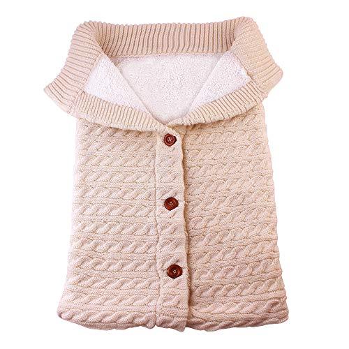 Baby Button-down Strickwolle Swaddle Decke Pucksack Kleinkind Schlummersäcke Kinderwagen Babydecken Schlafen Sack für 0-12 Monat Säugling Pyjamas Sicherheitsdecken (Khaki)