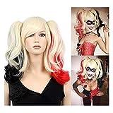 stfantasy Perücken Damen Medium ombre blonde gewellt Doppel Schachtelhalme Pferdeschwanz wig für Cosplay Kostümparty Karneval Halloween