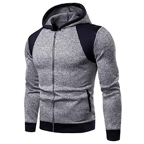 ZIYOU Herren Basic Trainingsanzüge, Männer Langarm Hoodie Pulli Sweatshirt mit Reißverschluss/Sport Fitness Slim fit Outwear Jacke (3XL,Grau)