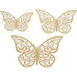 MagiDeal Pack Of 12 Fashion Metallic 3D Butterfly Wall Stickers Art Decal Wedding Birthday Party Supplier Mixed Sizes - C Gold, One Size