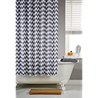 Vibrant Chevron Grey Striped Polyester Shower Curtain Including 12 White Rings By Waterline