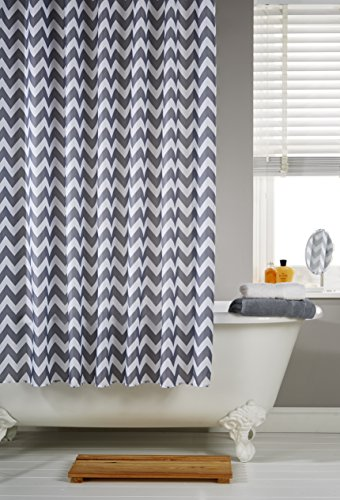 vibrant-chevron-grey-striped-polyester-shower-curtain-including-12-white-curtain-rings-by-waterline