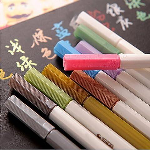QianSheng Lot de 10 couleurs Arts Crafts Dessin Coloré stylos marqueurs métallique marqueur peinture Permanent pour la création de cartes d'écriture DIY Scrapbooking Album photo ou n'importe quel Surface-paper Verre plastique poterie