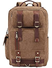 Preisvergleich für Rucksack Herren Damen Canvas Vintage KAUKKO Backpack Schulrucksack Vintage Laptoprucksack für Outdoor Camping...