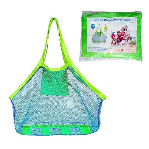 COOLGOEU Strandtasche Strandspielzeug Tasche XXL Groß für Sandspielzeug Wasserspielzeug für Kinder Aufräumsack Spielsack Badetasche Beachbag Faltbar für Familie Urlaub (Blau Mesh/Grün Strap)