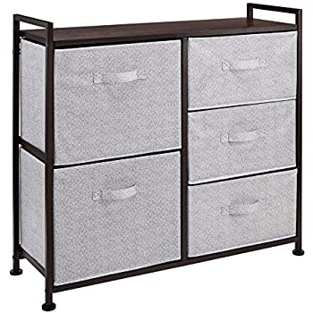 AmazonBasics Fabric 5-Drawer Storage Organizer Unit for Closet, Bronze