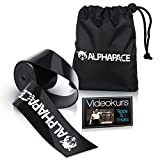 ALPHAPACE  Floss Band 1,5mm Profi Qualität + 20 HD Videos zur Anleitung - Kompressionsband für Physiotherapie - Voodoo Flossing für Fitness & Training - 100% Zufriedenheitsversprechen (Schwarz)