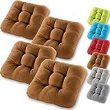 Gräfenstayn set di cuscini per sedia a 4 posti 40x40x8cm per interno ed esterno - rivestimento in 100% cotone - colori diversi - imbottitura spessa cuscino trapuntato cuscino/pavimento (marrone)