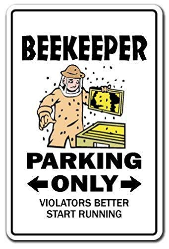 WallAdorn Beekeeper Parking Bumble Honey Hive Bees Insects Warning Eisen Blechschild Vintage Wall Decor für Cafe Bar Pub Home (Bumble Bee Kuchen Dekorationen)