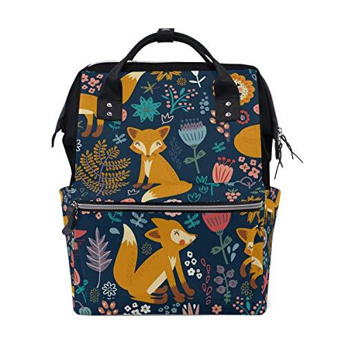 Grazioso zaino per la scuola, con volpe gialle, fiori, uccelli, grande capacità, borsa per computer portatile, borsa casual, da viaggio, per donne, uomini, adulti, ragazzi e bambini