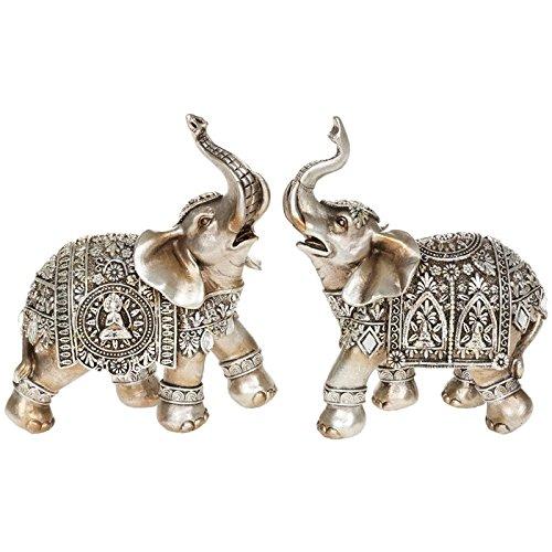 Juego de dos de Buddha elefante medio 14 cm Estatua Figura decorativa