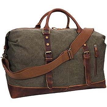 Sac fourre-tout en toile Sac de voyage en cuir occasionnel Sac de nuit de week-end Sac à main de messager d'ordinateur portable (Vert) oEk6cT