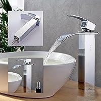 Inchant Moderna Contro parte superiore cascata lavandino rubinetto del corpo alto in ottone cromato singola maniglia rubinetto lavabo rubinetto Vasca vanità rubinetti, Deck Monte
