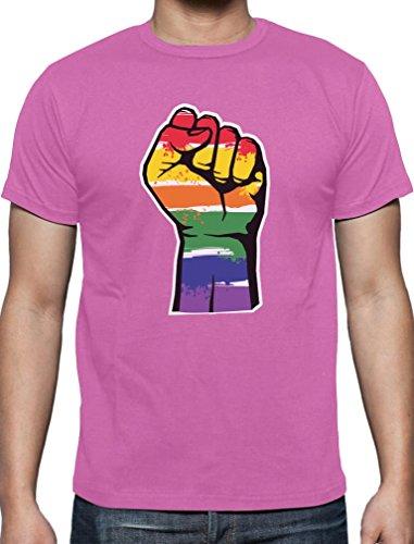 Widerstand Faust im Regenbogen Design CSD Shirt T-Shirt Rosa