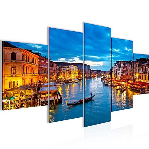 Bilder Venedig Italien Wandbild 200 x 100 cm Vlies - Leinwand Bild XXL Format Wandbilder Wohnzimmer Wohnung Deko Kunstdrucke Blau 5 Teilig - MADE IN GERMANY - Fertig zum Aufhängen 604351a