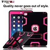 iPad 3 Case, iPad 4 Case, TabPow [Hybrid Shockproof Case] Turquoise Rugged Triple-Layer Shock-Resistant Drop Proof Defender Case Cover with KickStand [Full Warranty] For Apple iPad 2/3/4, Hot Pink