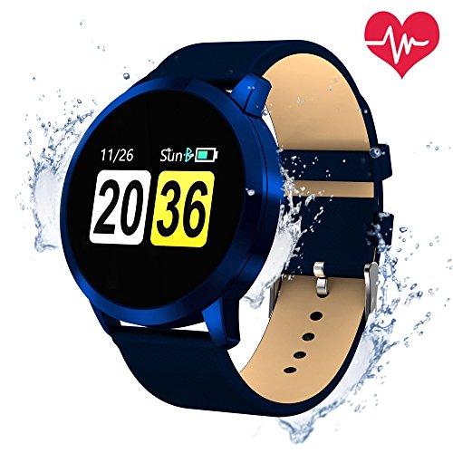 Smartwatch Bluetooth Wasserdicht, OUKITEL W1 Intelligente Armbanduhr Fitness Tracker Armbänder Herzfrequenz / Blutdruck / Schlaf Monitor / Spiel und Trinkwasser-Erinnerung Touchscreen Lange Standby-Zeit Kompatibel mit iOS und Android Handy (Blau)