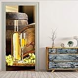 Namefeng Tür Dticker Trauben Und Champagner Bild Wandmalereien Wandaufkleber Türaufkleber Tapete Aufkleber Dekoration 77X200Cm