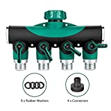 CALISH 4 Way Garden Hose Splitter, Outdoor Utility Hose Connector, Comfortable Rubberized Tap Connector with 4 Connectors and 8 Rubber Washers