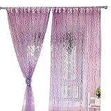 Culater® Weide Tüll Türfenster Fenster Vorhang Stoffbahn schiere Schal Schabracken (lila)