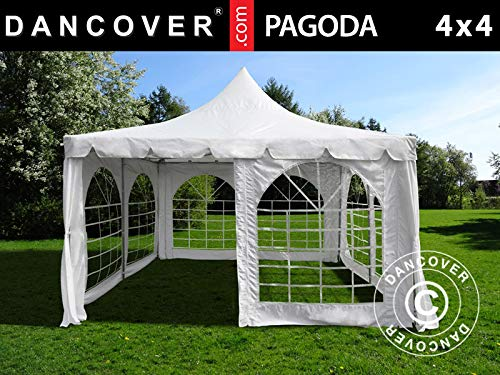 Dancover Partyzelt Pavillon Festzelt Pagoda 4x4m, Weiß