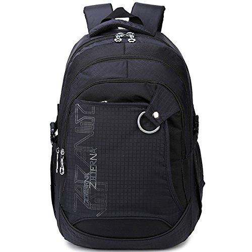 """Bestfort Rucksack 3 Fächer Groß 15,6""""Laptop A4-Format Schulrucksack für Jungen Mädchen (Schwatrz)"""