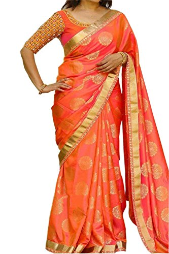 A And V Fashion Women's Silk Saree With Blouse Piece (Vdkt-20-3191A_Orange)