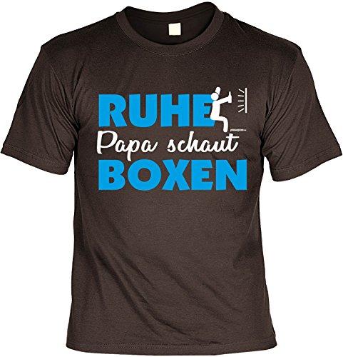 T-Shirt für den besten Papa: Papa. Ruhe, Papa schaut Boxen - Geschenk für besondere Anlässe, Vatertag, Geburtstag - braun Braun