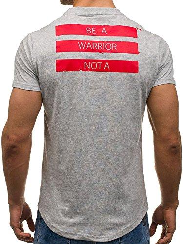 BOLF Herren T-Shirt Tee Kurzarm Rundhals Classic Aufdruck Print Motiv MIX Grau_S080