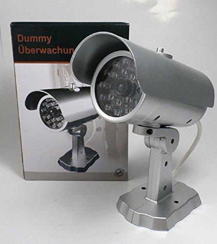 Sicherheitskamera Atrappe Dummy Kamera silber drahtlos mit blinkender LED 17x17x8,5cm