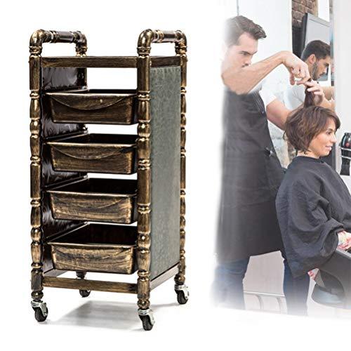 Salon trolley Retro Friseurwagen mit 4 Schubladen Fönhalter für Beauty Möbel Aufbewahrung Haarfärbegerät Friseurwagen