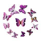 Lukis 12 Stück 3D Doppelperspektive Schmetterling Aufkleber Wandsticker Wandtattoo Wanddeko Lila