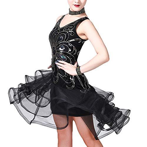 Lonmei donna latin dance vestito - moda senza maniche con paillette discoteca sparkly dress rumba samba chacha ballroom con costumi da carnevale party, nero/m