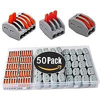 KINYOOO Terminales Conectores Reutilizables de conectores de tuercas de patillas Conectores de cables compactos de 50 piezas 2 orificios (20 piezas), 3 orificios (20 piezas), 5 orificios (10 piezas).
