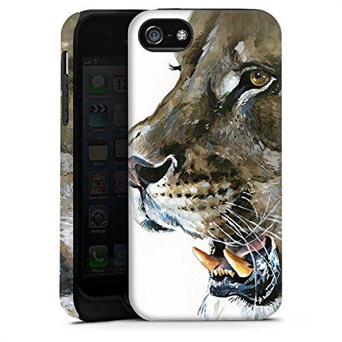 Apple iPhone 4 Housse Étui Silicone Coque Protection Loewe Lions Félin Cas Tough terne
