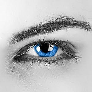 """Farbige Kontaktlinsen""""Aqua"""" 2x meeresblaue Kontaktlinsen ohne Stärke + gratis Kontaktlinsenbehälter – Ozeanblau"""