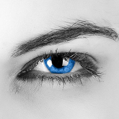 Blaue Kontaktlinsen - farbig - ohne Stärke - AQUA blue - für braune / dunkle Augen - mit Kontaktlinsenbehälter - zwei meeresblaue Linsen