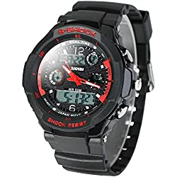Leopard Shop Skmei Military Watch Green LED 2 Time Zone Chronograph Double Movts Red