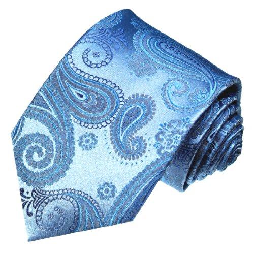 LORENZO CANA - Handgefertigte Luxus Krawatte aus 100% Seide - Seidenkrawatte Blau hellblau Paisley - 42048 (Anzug Nadelstreifen Mantel)